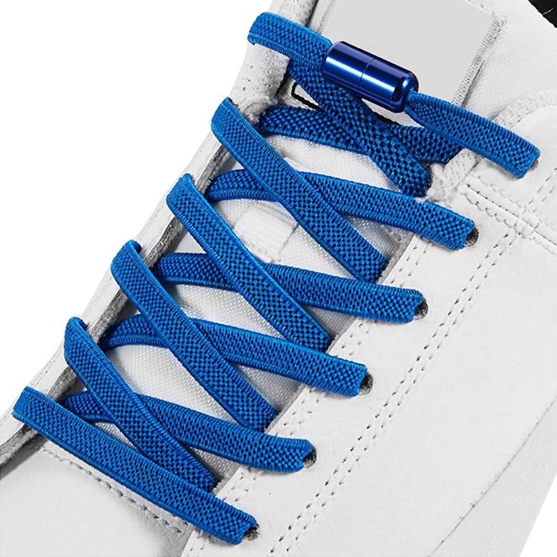 Free to Match Elastic Shoelaces Lock Lazy Laces Flat Multi Color Options No Tie Shoelace Round Capsule Metal 18 Colors
