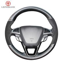 LQTENLEO czarne zamszowe pokrycie kierownicy z włókna węglowego dla Ford Mondeo Fusion EDGE 2013-2020 Galaxy 2016-2020 s-max 2012-2020 tanie tanio CN (pochodzenie) Górna Warstwa Skóry Kierownice i piasty kierownicy 0 15kg Four Seasons General 13cm For Ford Mondeo Fusion EDGE 2013-2020 Galaxy 2016-2020 S-Max 2012-2020