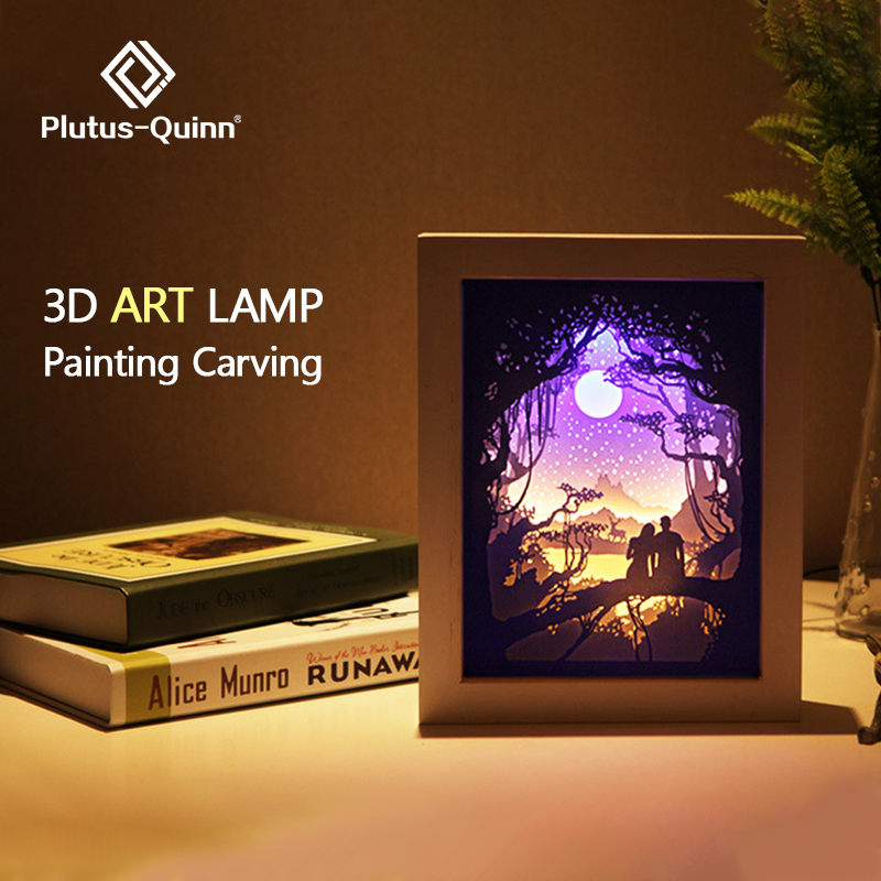 2019 New Dropship Night Light 3d Shadow Box Painting Carving Gift Lights Bedside Lamp Night Lamp Christmas Lamp