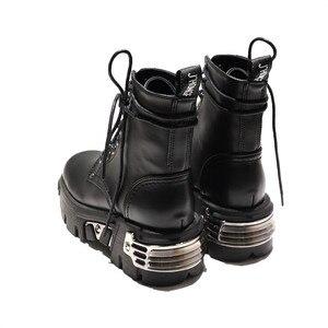 Image 3 - Женские ботильоны в стиле панк, черные ботинки на платформе 6 см, высокие военные ботинки с металлическим декором, осенне зимние женские ботинки
