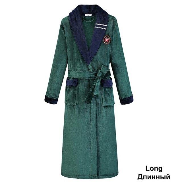 Green Women Men Coral Kimono Bathrobe Gown Lovers Couple Flannel Nightwear Winter Ultra Thick Warm Robe Sleepwear