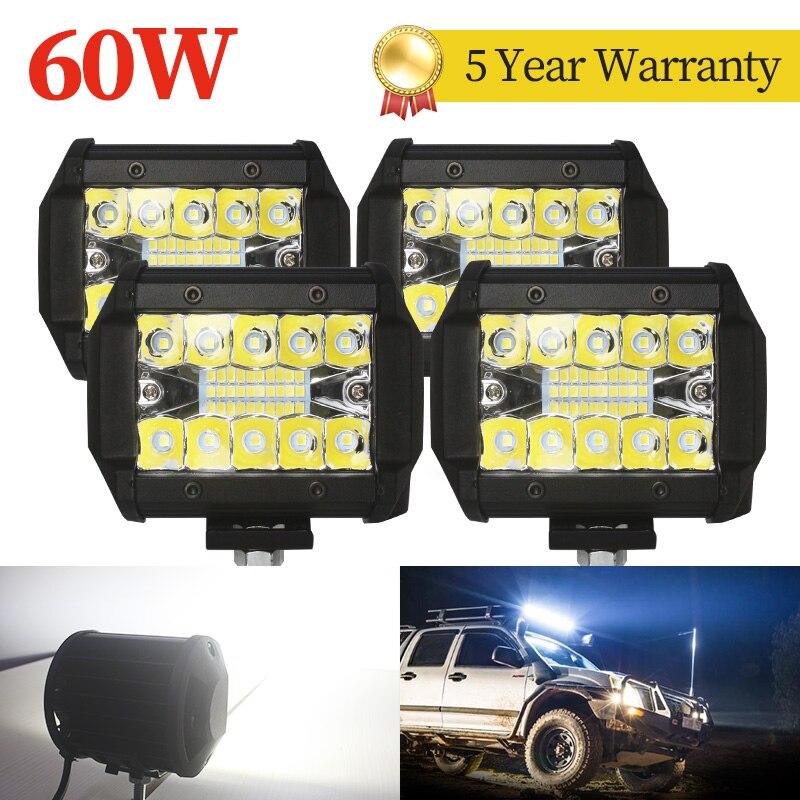 4pcs 20LED 60W Car LED Work Light 12v 24v per Off Road Truck Bus Boat fendinebbia Car Work Light Assembly