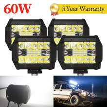 4 шт. 20 светодиодный 60 Вт Автомобильный светодиодный рабочий светильник светодиодный рабочий свет 12 в 24 В для внедорожников, принт грузовика...