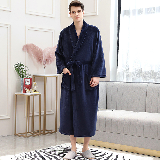 Men Women Winter Plaid Plus Size Long Coral Fleece Bathrobe 40-130KG Robe Warm Flannel Bath Robes Dressing Gown Night Sleepwear