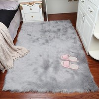 Gray Shaggy Silky Plush Carpet Faux Fur Rug Bedside Rugs Rectangle Soft Faux Sheepskin Fur Area Rugs Bedroom Floor Mat/Rug