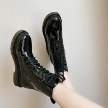 Botas femininas botas de combate botas famale motocicleta sapatos de couro patente mulher sapatos de inverno anti deslizamento moda rendas até calçados