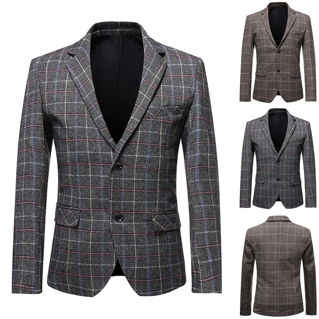 2019 High Capacity Men's Plaid  New Style Long Sleeve Casual Suit Slim Fit Blazer Jacket Support Wholesale Dropship