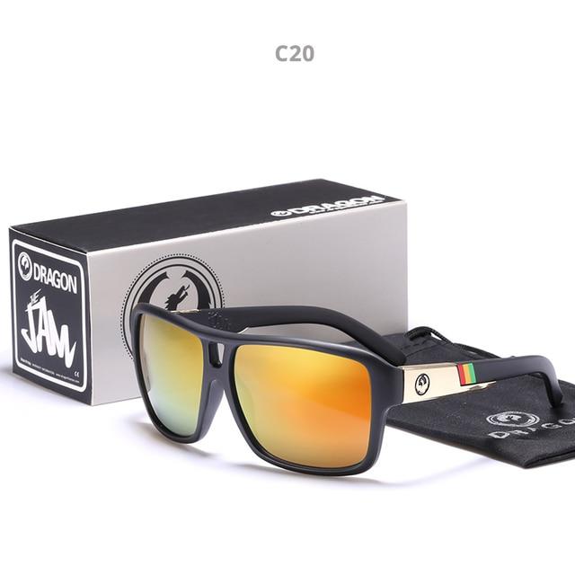 Mirrored lens Mannen Dragon Merk Ontwerp Rijden Vissen zonnebril Vierkante Glazen Voor Mannen UV400 Zomer Shades Eyewear