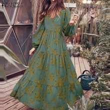 ZANZEA Casual Cotton Sundress Vintage Floral Printed Vestidos Female V Neck Puff Sleeves Robe Women's Fashion Autumn Maxi Dress