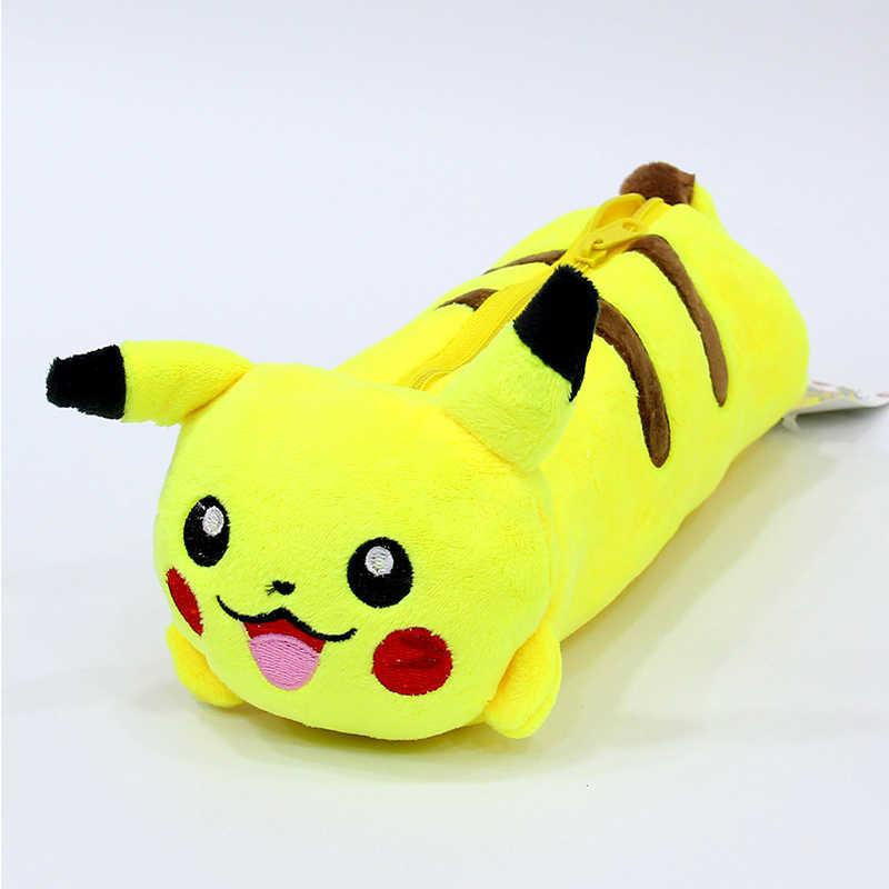 Ellen brook 1 pçs dos desenhos animados de pelúcia pikachu caso bonito pokemon lápis saco para crianças brinquedo coreano papelaria bolsa escritório escola suprimentos