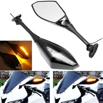 Motorcycle Arrow LED Turn Signal Side Mirrors For Suzuki GSXR 600 750 1000 For Honda CBR 1000RR image