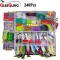 GLEEGLING Großhandel Winter Minnow Fly Angeln Locken Set 15/24/94/240Pcs Angeln Löffel Haken Weichen locken Set mit Angeln Box