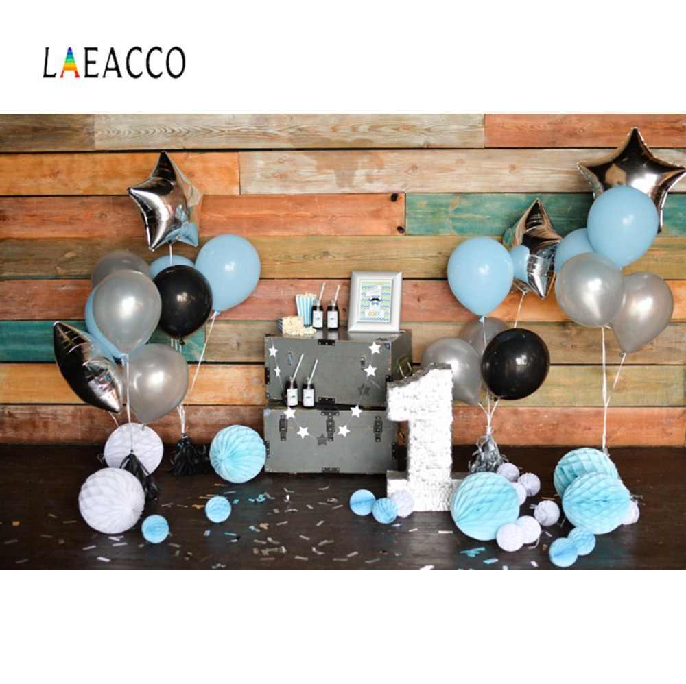 Laeacco 해피 베이비 생일 파티 회색 벽 장난감 테디 베어 가족 촬영 초상화 사진 배경 사진 배경