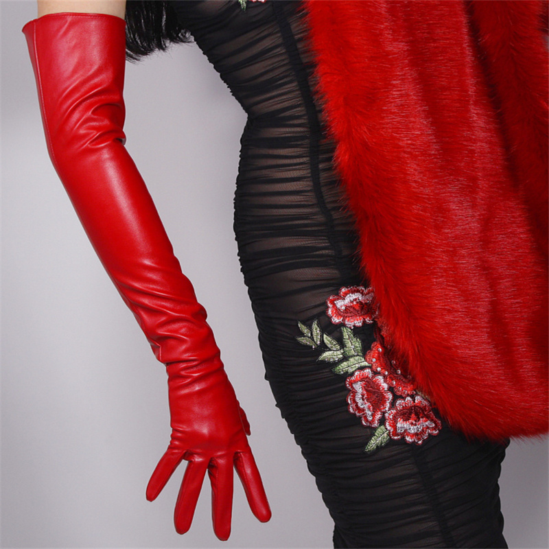 60cm Extra Long Leather Gloves For Women Above The Elbow Made Of Artificial Sheepskin PU Unlined Women Gloves Fashion Red PUDH60
