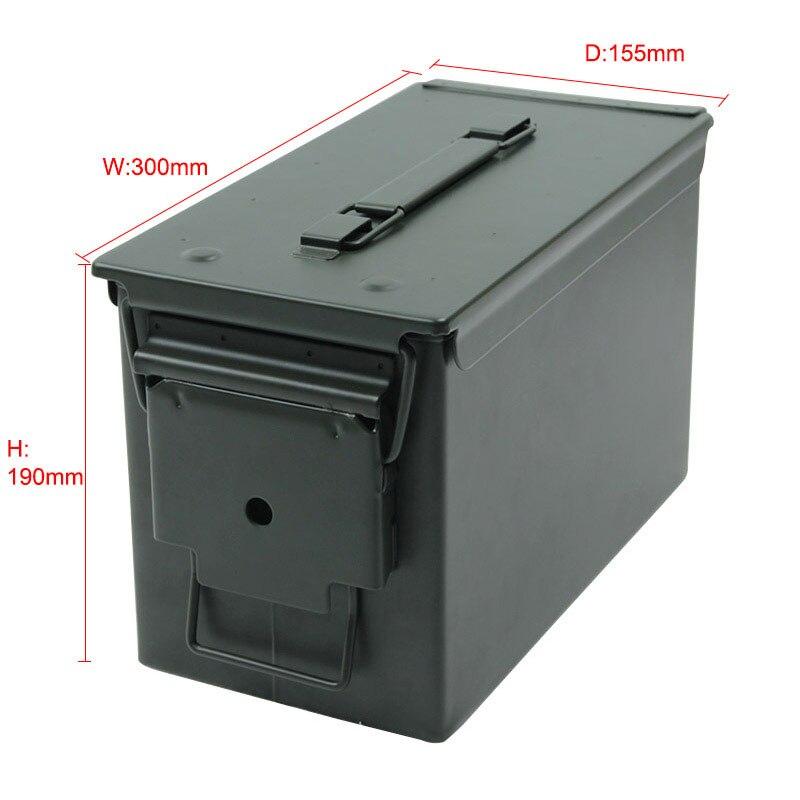 50 Cal Metal M2A1 caja de municiones estilo militar y militar caja de acero munición de pistola caja de almacenamiento caja de soporte pesado táctico caja de balas bloqueable - 2