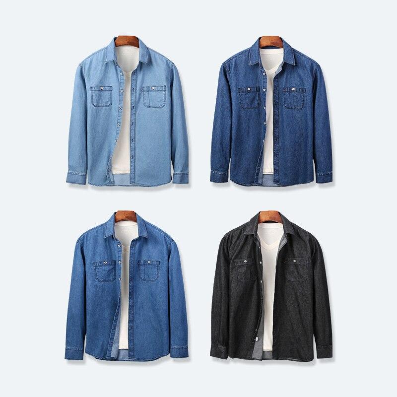 Jeans Shirts Men 4 Color Big Size Cotton Long Sleeve Button Front Pocket Casual Streetwear  Slim Fit Work Dress Spring Autumn