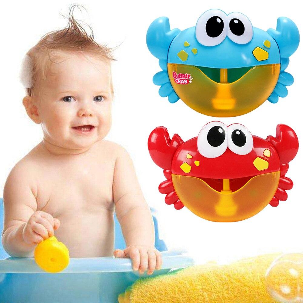 Juguetes de baño de bebé divertidos cangrejos de burbuja de Música automática máquina de hacer burbujas juguetes de la máquina de jabón de la bañera juguetes para niños