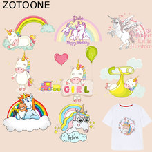 ZOTOONE Cartoon Animal Patch Unicorn Sticker Iron on Patches for Clothing T-shirt Heat Transfer Diy Accessory Appliques G