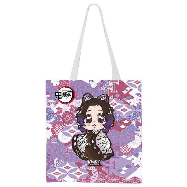 Japão anime demon slayer kimetsu não yaiba lona bolsa de ombro cosplay dos desenhos animados meninas viagem tote sacos de compras casuais bolsa nova