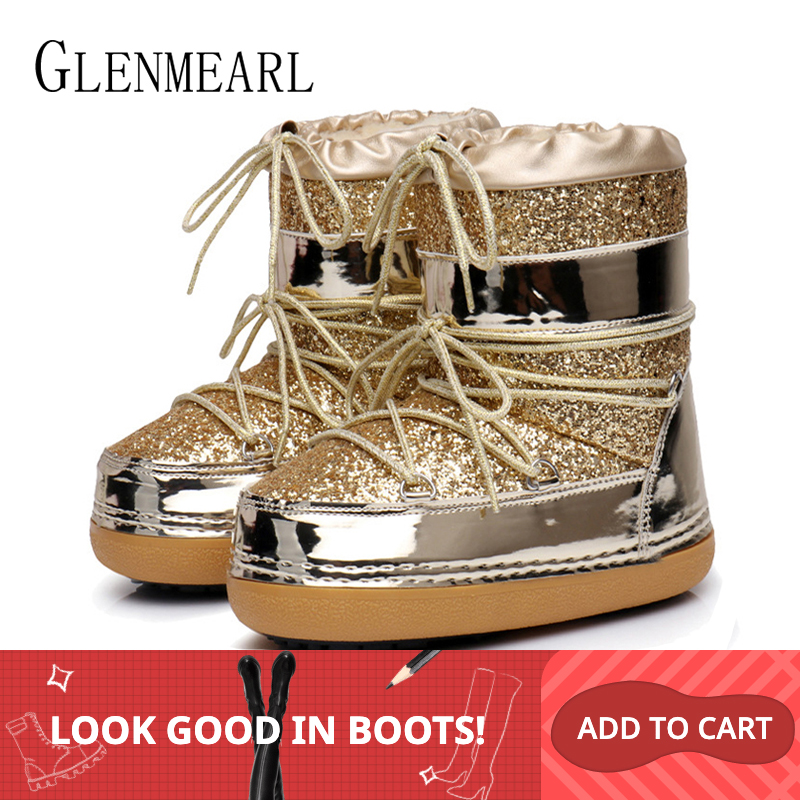 Snow Boots Winter Ankle Boots Women Shoes Fur Warm Boots Female Plus Size Casual Shoes Platform Non Slip Gold Bling Lack Up DE-in Ankle Boots from Shoes