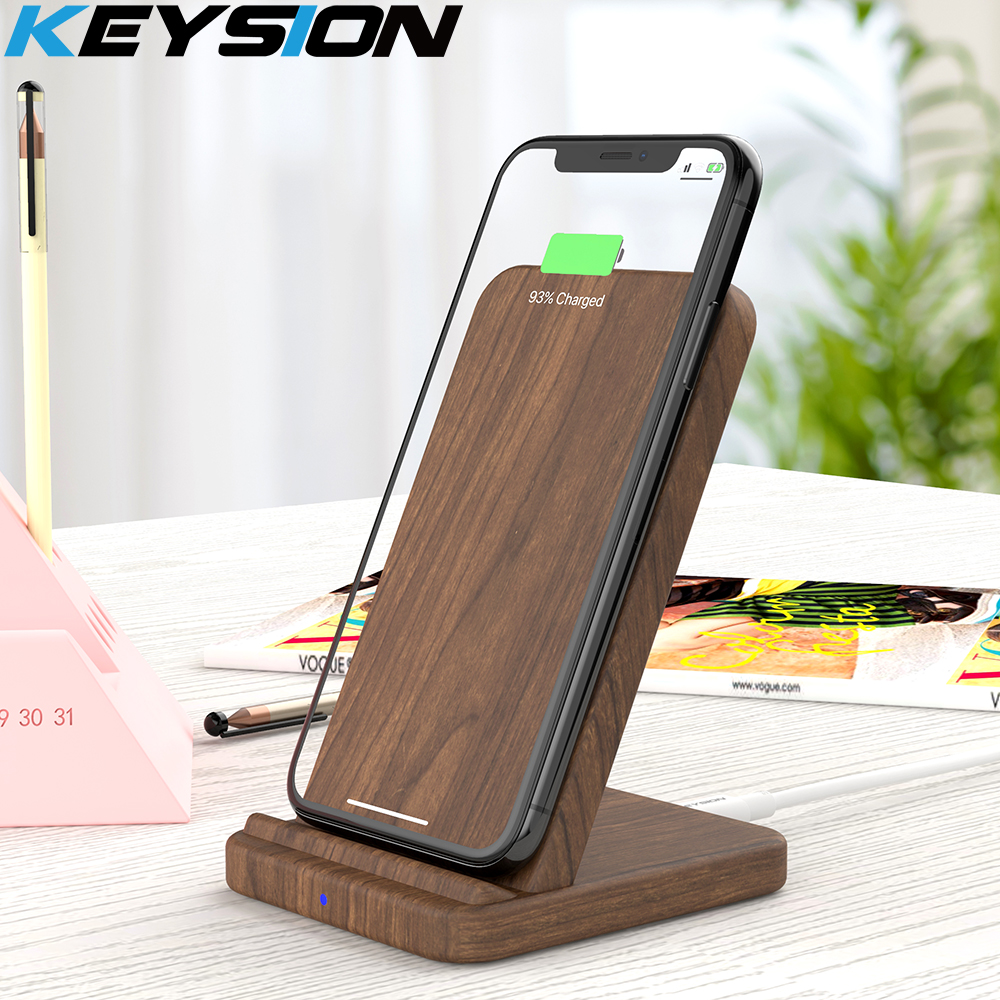KEYSION 10W Wooden Qi Wireless Charger for iPhone 11 Pro Max XR XS Max 8Plus fast Wireless Charging Stand for Samsung S20 S10 S9