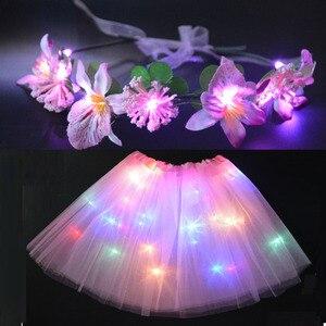 Принцесса LED вечерние светильник пачка светящийся цветок ободки венок гирлянда Фея костюм для девочки танцевальная мини юбка Свадьба День ...