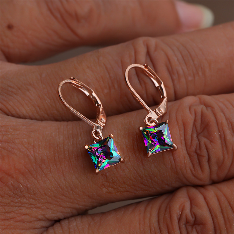 Small Square Stone Hoop Earrings Female Luxury Rainbow Crystal Zircon Earrings Rose Gold Silver Color Wedding Earrings For Women