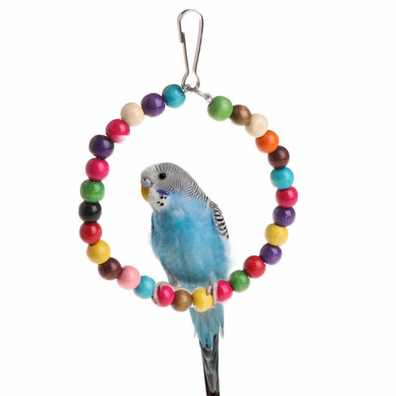 それではペット木製鳥オウムおもちゃスタンドホルダーぶら下げスイングリングボール