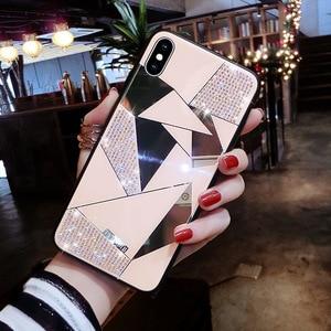 Image 3 - Stilvolle Premium Diamant Spiegel Diamant Fall für iPhone 6 für iPhone X 6S 7 8 Plus XS Xr Max 9 10 weiche Silikon Zurück Abdeckung