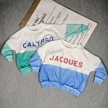 BOBOZONE blue white letter sweatshirt for kids boys girls winter clothes