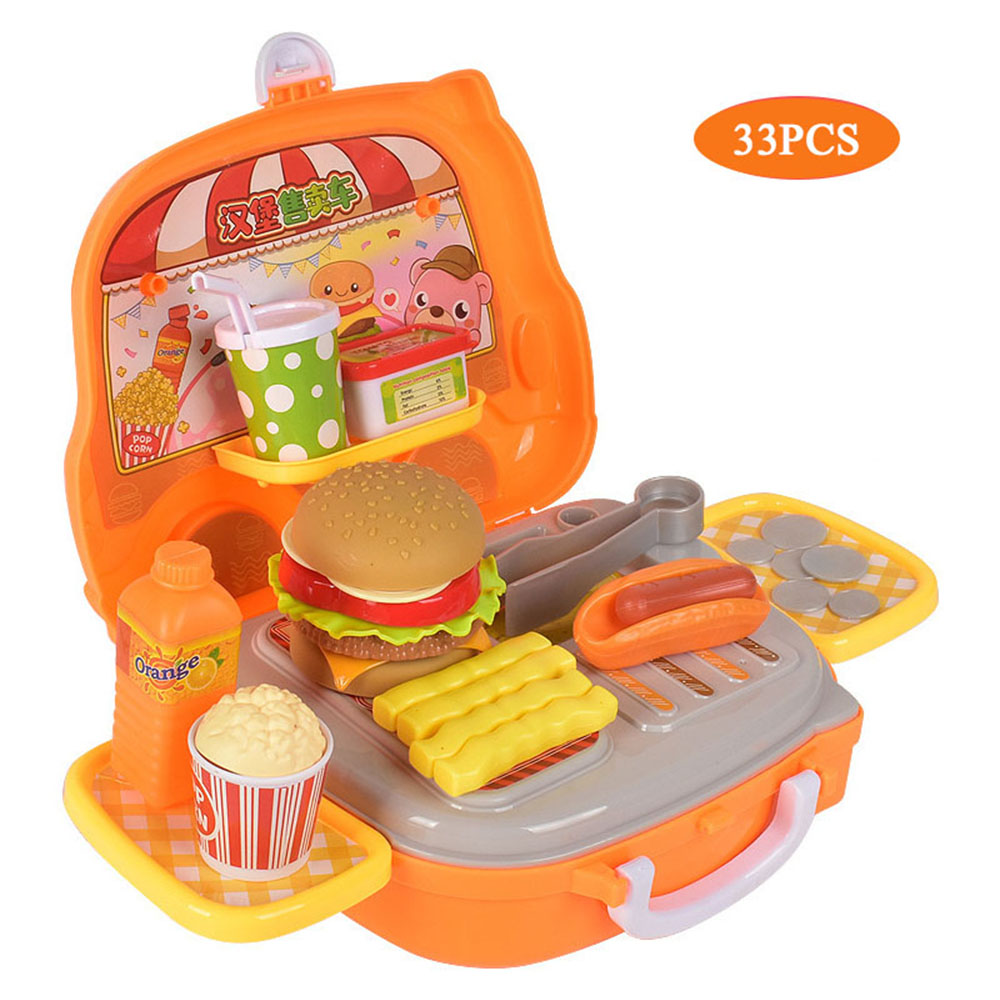 Children's Simulation Burger Kitchen Toy Play House Toy Set Ice Cream Burger Food BBQ Makeup Set Trolley Toy