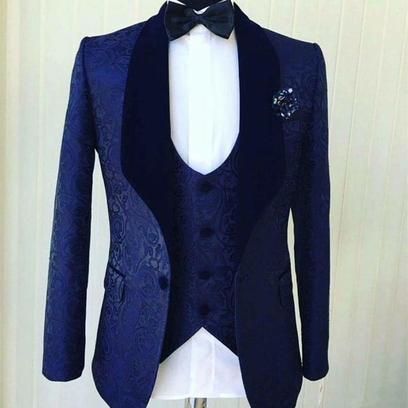 50 (3)Popular Navy Blue Jacquard Men Wedding Tuxedos Velvet Shawl Lapel Groom Tuxedos Men DinnerDarty Dress 3 Piece Suit(Jacket+Pants+Vest)