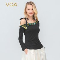 VOA Silk Knit T Shirt Autumn Long Sleeve White Office Ladies Tops Sexy OFF Shoulder Tee Women Sashes Bow Sweet Large Size B759