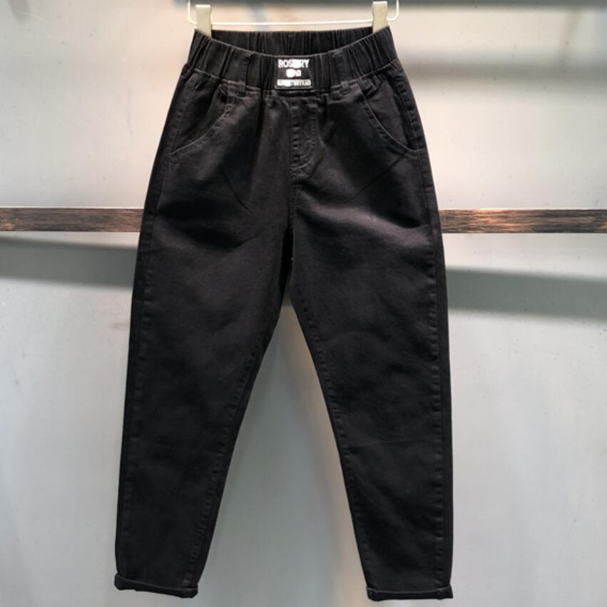 2020 Spring Autumn New Black Casual Elastic Waist Radish Jeans Women Fashion Loose Harem Pants