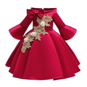 Embroidery Girls Dress Gold beaded Flower kids dresses for girls princess Informal Party tulle vestidos Floral