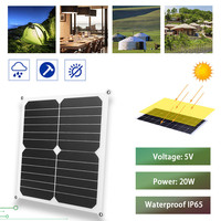 5V 20W Solar Panel USB portable Solar Cell Solar Panel with Car Charger for Outdoor Camping Emergency Light Waterproof For phone