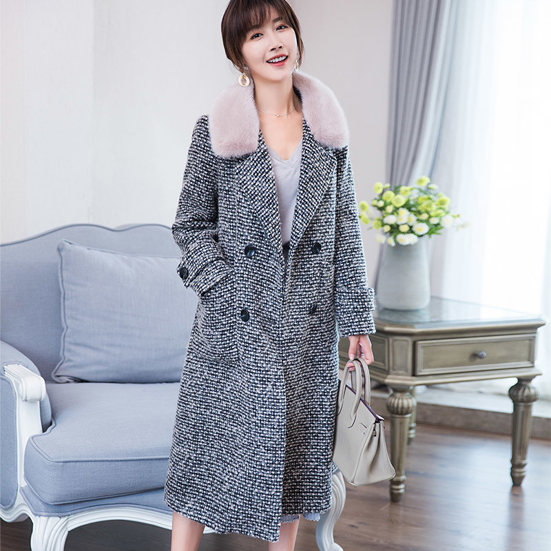 Coat Wool Tweed Female Real Fur Coat Long Detachable Lamb Fur Liner Winter Jacket Natural Mink Fur Collar Coats 18070 S