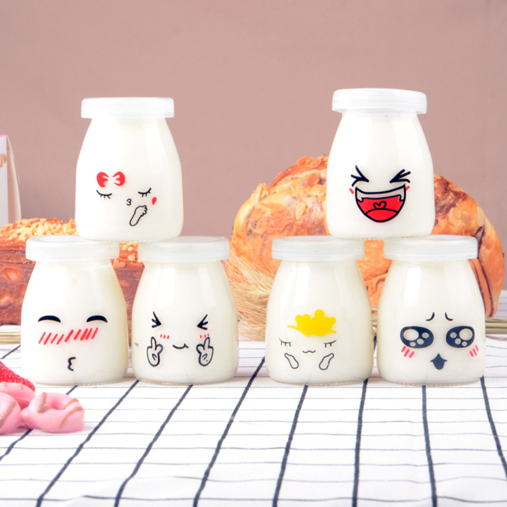 6pcs 100ml Pudding Bottles Cute Face Heat-Resistant Glass Jelly Yogurt Jar Containers Milk Cup Yogurt Cup