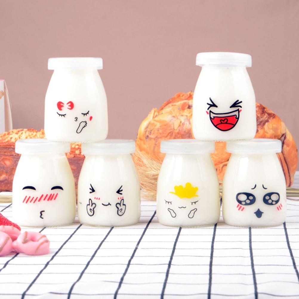 6pcs 100ml Pudding Bottles Cute Face Heat-Resistant Glass Jelly Yogurt Jar Containers Milk Cup Yogurt Cup