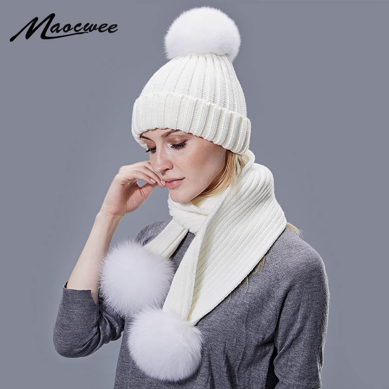 Real Fox Fur Pompon Beanie Hat Scarf Set For Children Women Winter Warm Beanies Hats Knitted Outdoor Cap Female High Quality Set