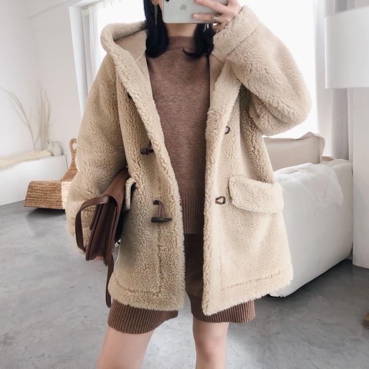 Осень зима 2019, женские корейские колледжа, шерсть, крупные частицы, овечья шерсть, шапка, угловая пуговица, пальто ежедневный пиджак - 2