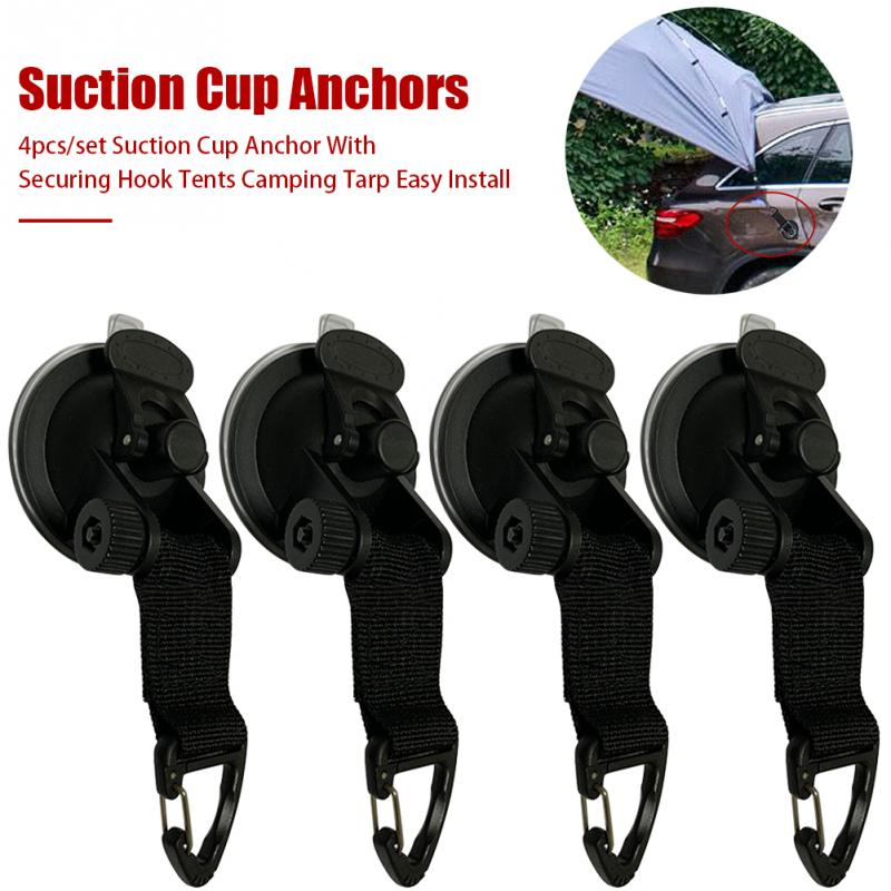 4Pcs Suction Cup Anchor Securing Hook Tie Down,Camping Tarp as Car Side Awning, Pool Tarps Tents Securing Hook Universal