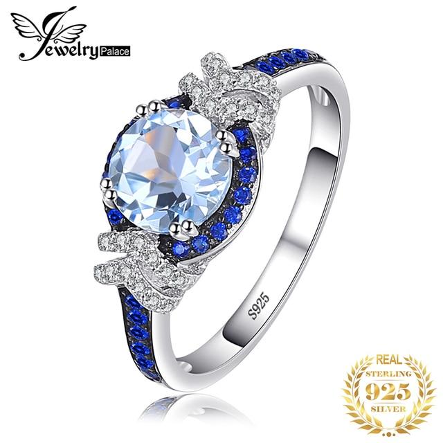 Jewelrypalace красиво площади создания Сапфир 3 Камни кольцо стерлингового серебра 925 Свадебные украшения Юбилей подарки