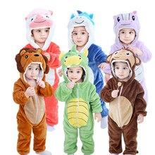 Newborn Baby Animal Dinosaur Pajamas Cosplay pajamas Boys Girls Winter Pajamas Flannel Thicken Warm Cartoon One-piece Sleepwear