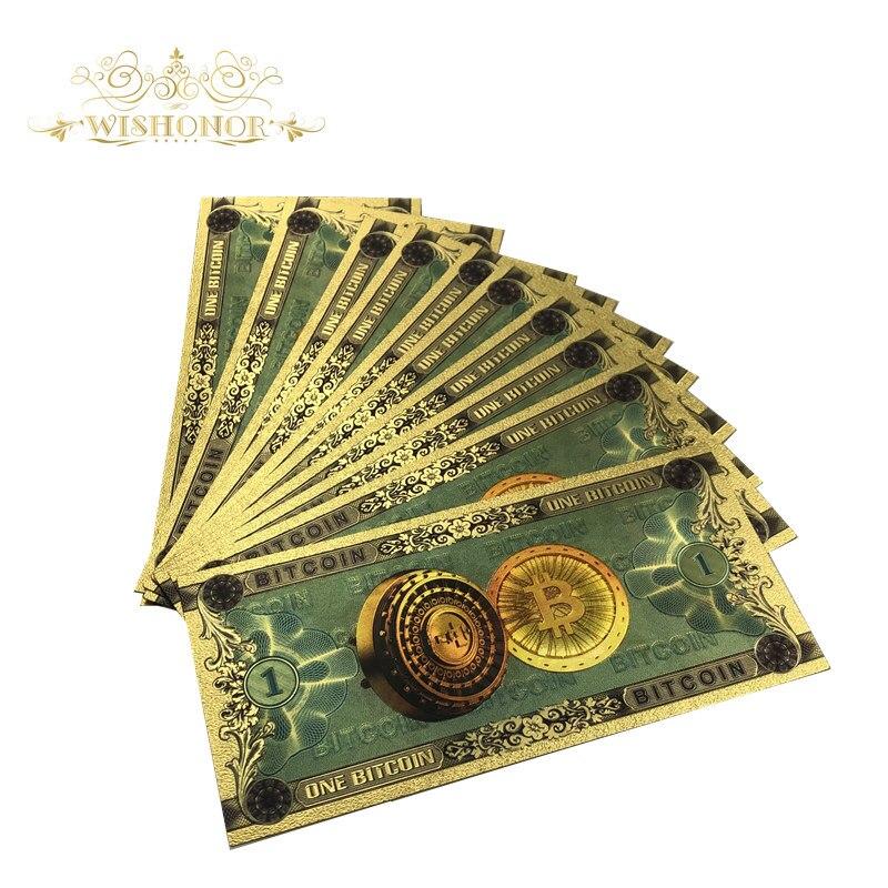 10 штук Лот BTC Gold Цвет банкнот один Биткоин BTC купюр сувенир банкноты для сбора и подарки