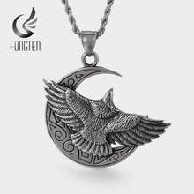 Fongten Retro Moon Eagle Pendant Necklace Men Stainless Steel Wings Punk Man Big Pendants Long Necklaces Fashion Jewelry(China)