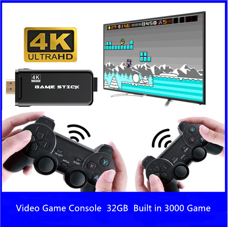 Новый 4K-видео игры консоль с двойной геймпад встроенный в 3000 игры домашняя портативная игровая приставка для ПС1 ГБА ФК аркады детские подарок