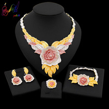 Yulaili New Dubai Jewelry Sets Austria Crystal Tri color Big Flower Pendant Necklace Earrings Nigeria Wedding African Bijoux