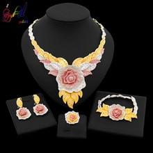 Yulaili yeni Dubai takı setleri avusturya kristal üç renkli büyük çiçek kolye kolye küpe nijerya düğün afrika Bijoux