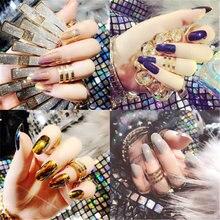 24 шт/1 набор разноцветные крутые лазерные накладные ногти готовые